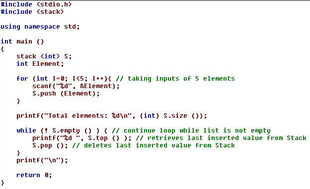 STL implementation of Stack