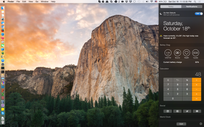 Notification center Yosemite