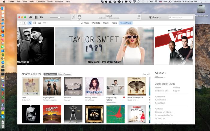 iTunes in Yosemite